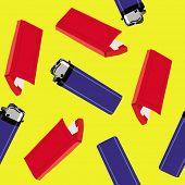 stock photo of cigarette lighter  - lighter and cigarette paper seamless pattern - JPG