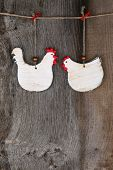 image of roosters  - Funny welcome white chicken rooster hen country cottage kitchen wood shape sign decoration toy on old rough background with copy space - JPG