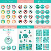 picture of avatar  - Big set of Christmas and New Year flat vector design elements and icons - JPG