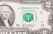 stock photo of two dollar bill  - Close up of american two dollar bill - JPG