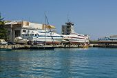 pic of passenger ship  - Passenger ships standing in port recorded in town Yalta on Black sea region Crimea Ukraine - JPG