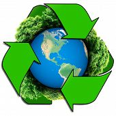 foto of save earth  - Recycle logo with tree and earth - JPG