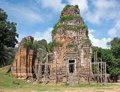 image of scaffolding  - a khmer temple with wooden scaffolding in Angkor Wat in Cambodia - JPG