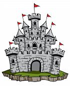 stock photo of fable  - An illustration of an Old medieval stone castle illustration - JPG