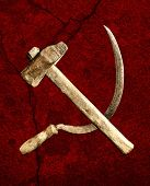 foto of communist symbol  - symbol of the USSR hammer and sickle on a red background - JPG