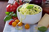 pic of vegetarian meal  - Zucchini noodles in a bowl with fresh vegetables and cheese