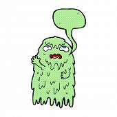 stock photo of gross  - gross cartoon ghost with speech bubble - JPG