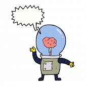 picture of cyborg  - cartoon robot cyborg with speech bubble - JPG