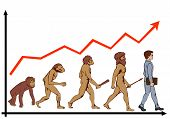 foto of ape-man  - picture of human evolution on the background of growth charts - JPG