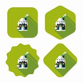 image of gingerbread house  - Gingerbread House Flat Icon With Long Shadow - JPG