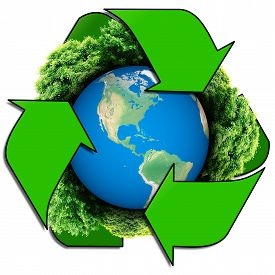 stock photo of save earth  - Recycle logo with tree and earth - JPG