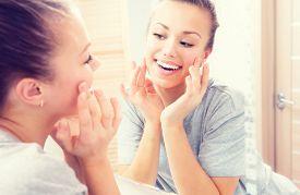 image of touching  - Beauty skin care - JPG
