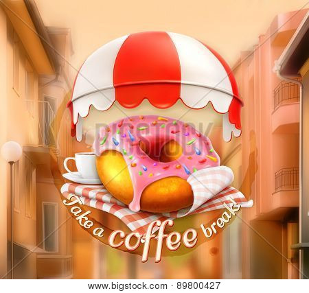 Pink donut and cup of coffee, awning over entrance, promotional outdoor sign, street background, poster in vector, invitation to a break, lunch time, advertising signboard for cafe and coffee shops