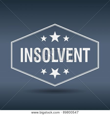Insolvent Hexagonal White Vintage Retro Style Label