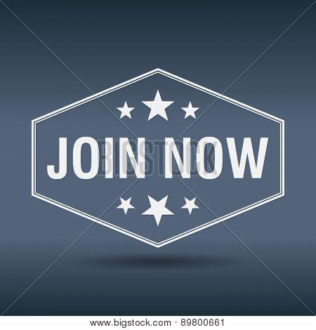 Join Now Hexagonal White Vintage Retro Style Label