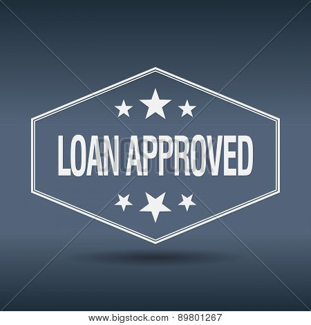 Loan Approved Hexagonal White Vintage Retro Style Label