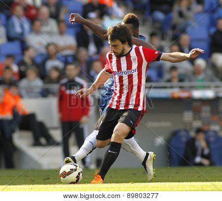 BARCELONA - APRIL, 12: Benat Etxebarria of Athletic Club Bilbao during a Spanish League match against RCD Espanyol at the Power8 Stadium on April 12 2015 in Barcelona Spain