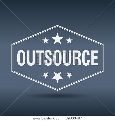 Outsource Hexagonal White Vintage Retro Style Label