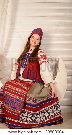 Young Woman In Slavic Belarusian National Original Suit Studio