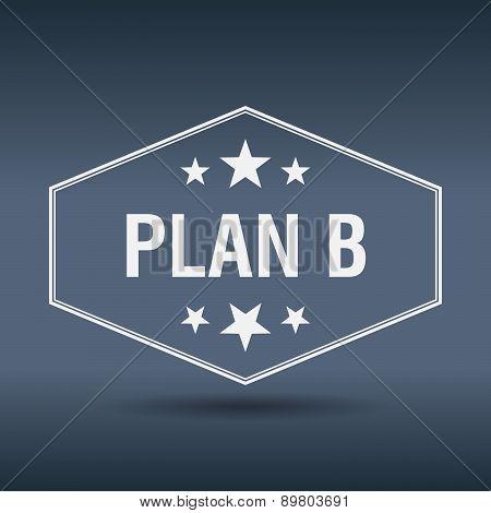 Plan B Hexagonal White Vintage Retro Style Label
