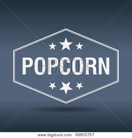 Popcorn Hexagonal White Vintage Retro Style Label