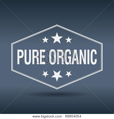 Pure Organic Hexagonal White Vintage Retro Style Label