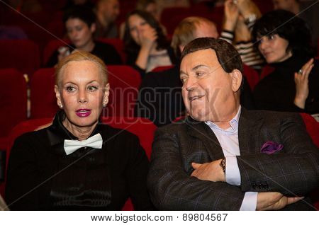 MOSCOW, RUSSIA, October, 15: Russian singer Iosif (Joseph) Kobzon accompanied by his wife attends the premiere of the movie