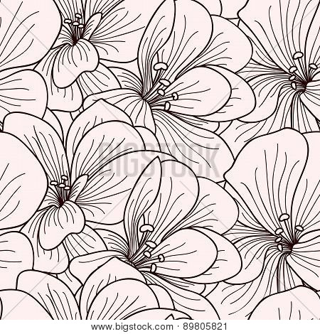 Beige And Brown Geranium Flowers Line Drawing Seamless Pattern