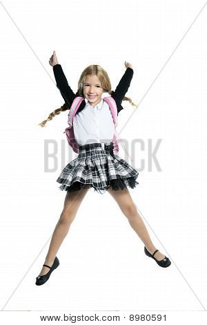 little beautiful student girl jumping