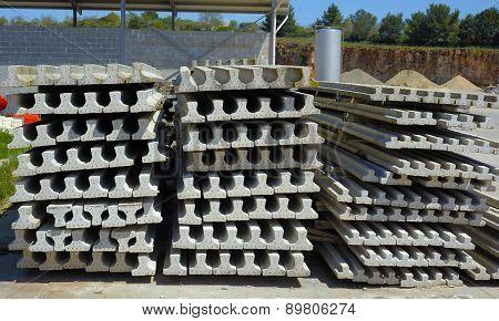 Construction job site prestressed concrete beams