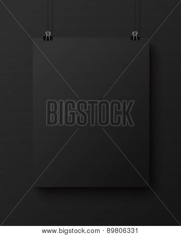 Black blank vertical sheet of paper, vector mock-up