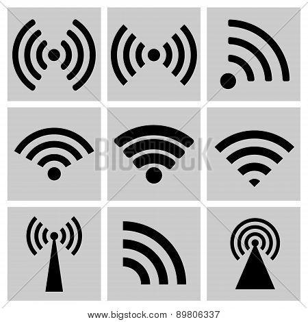 Wireless Technology, Black Web Icons Set
