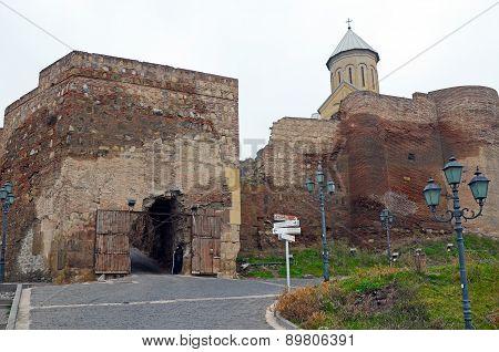 Tbilisi, Georgia-Feb,27 2015: Narikala - Tbilisi defensive fortress inTbilisi. Entrance