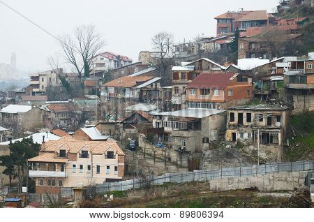 Top view of the old residential district of Tbilisi