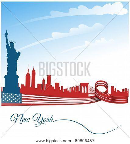 New York City Background On Usa Flag