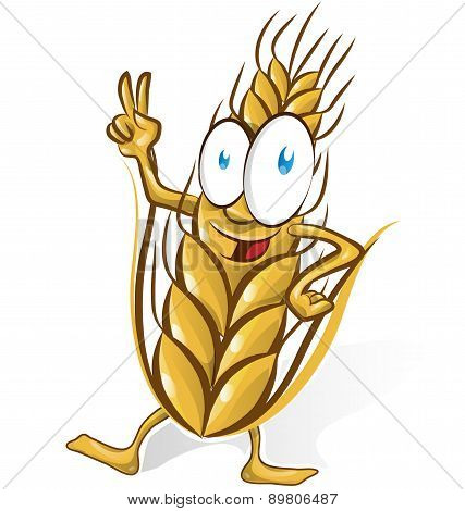 Wheat Cartoon Isolated On White  Background