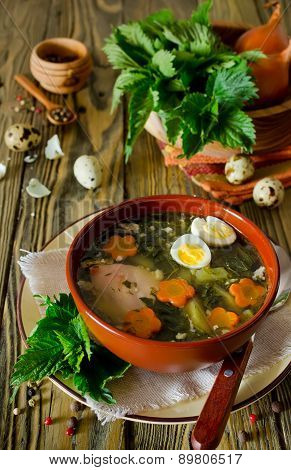 Nettle Soup With Eggs And Carrot In The Bowl On The Table