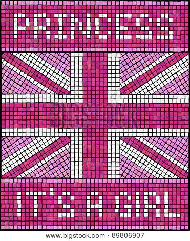 Birth of the Royal Baby Girl concept. A Union Jack flag made from mosaic tiles, in shades of pink for a new baby Princess.