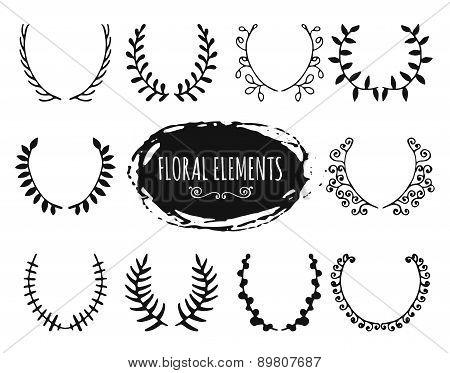 Hand drawn floral doodle design elements