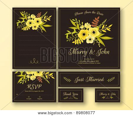 Wedding set of various cards