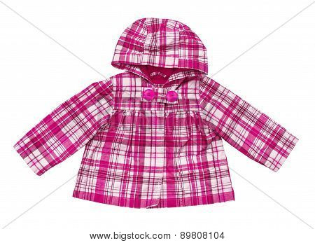 Baby Pink Plaid Jacket On An Isolated White Background