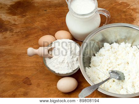 Flour, Cottage Cheese, Milk. Eggs