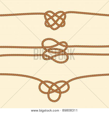 Set Of Rope Borders With Decorative Knots