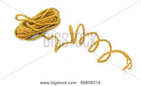 The orange brown yellow rope in the coil