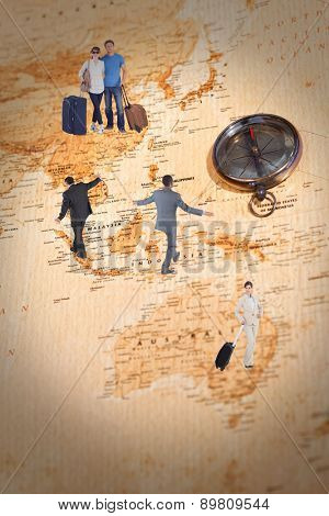 Mature businessman doing a balancing act against world map with compass showing oceania and the far east