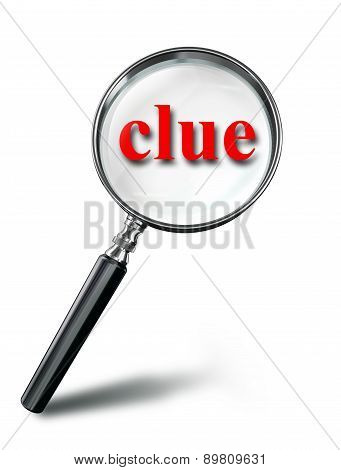 Clue Red Word Mystery Concept With Magnifying Glass