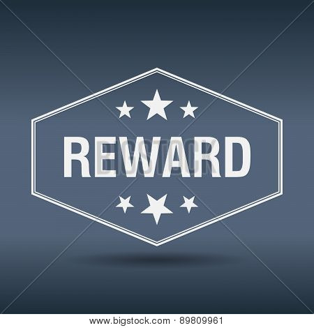Reward Hexagonal White Vintage Retro Style Label