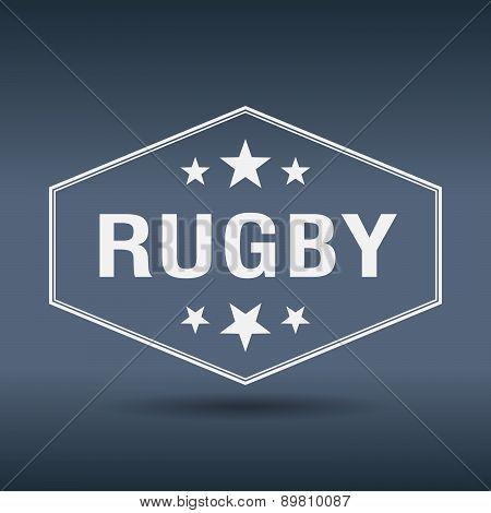 Rugby Hexagonal White Vintage Retro Style Label