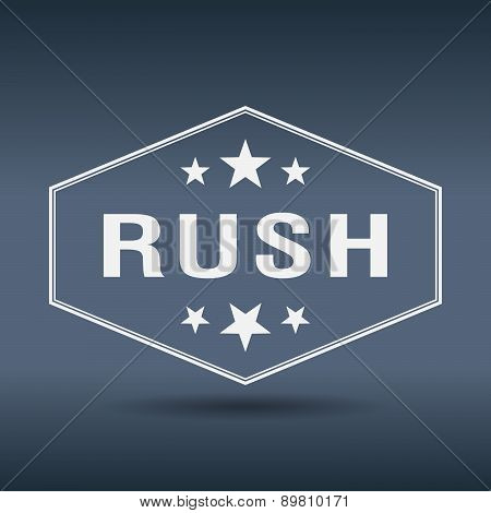 Rush Hexagonal White Vintage Retro Style Label