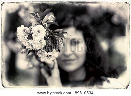 Young Woman Smelling A Beautiful Sakura Blossom, Pink Flowers, Vintage Collage